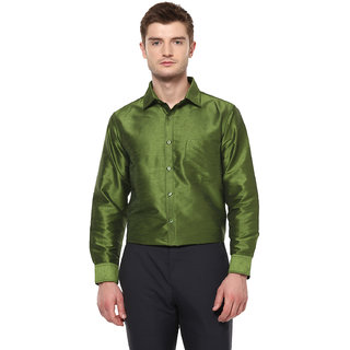 714d58095b1bc7 Buy Khoday Williams Men s Green Poly Silk Solid Party Shirt Online - Get  40% Off