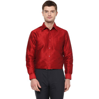 Khoday Williams Men's Dark Red Poly Silk Solid Party Shirt