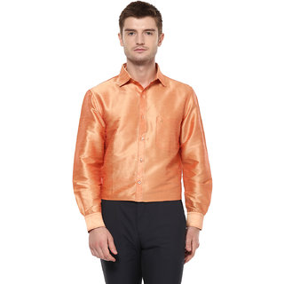 Khoday Williams Men's Orange Poly Silk Solid Party Shirt