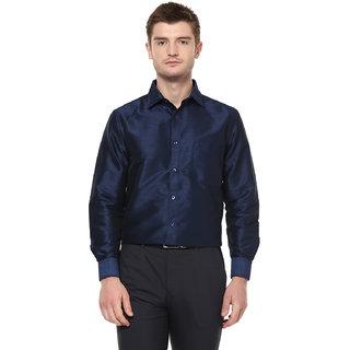 3f7c60fe54cfae Buy Khoday Williams Men s Navy Blue Poly Silk Solid Party Shirt ...