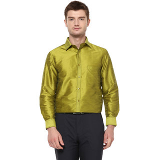 Khoday Williams Men's Green Poly Silk Solid Party Shirt