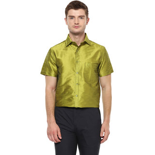 9fc9d0f9aaa6ab Buy Khoday Williams Men s Green Poly Silk Solid Party Shirt Online ...