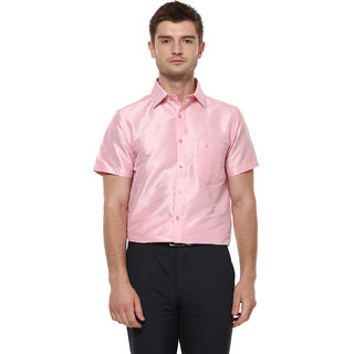 Khoday Williams Men's Baby Pink Poly Silk Solid Party Shirt