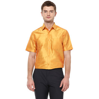 Khoday Williams Men's Yellow Poly Silk Solid Party Shirt