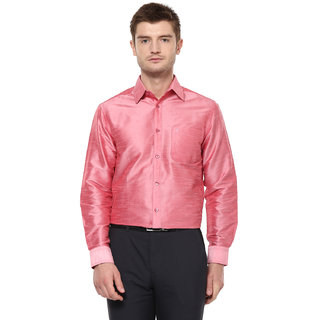 Khoday Williams Men's Dark Pink Poly Silk Solid Party Shirt