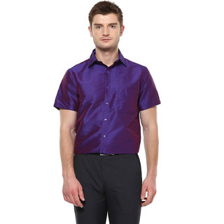 Khoday Williams Men's Dark Purple Poly Silk Solid Party Shirt