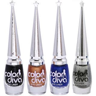 Color Diva 4 Color Eyeliner Black, Gold, Blue  Silver Set of 4 GC562-By Adbeni