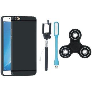 Samsung J7 Prime Premium Back Cover with Spinner, Selfie Stick and USB LED Light