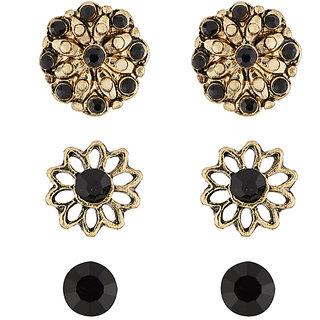 JewelMaze Antique Gold Plated Stone Stud Earrings Set-1312102A