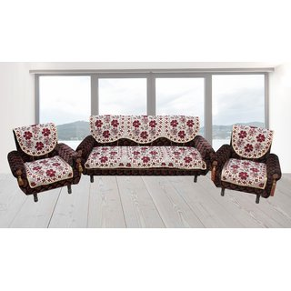 Premium furnishing 5 seater velvet sofa cover in floral design (LxW)(178x74)