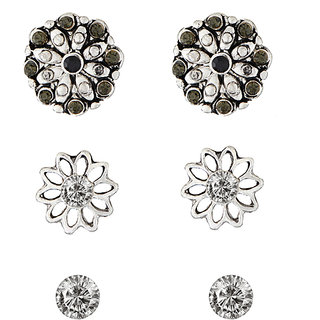 JewelMaze Black Rhodium Plated Stone Stud Earrings Set-1312102B