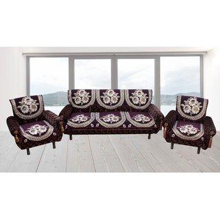 Premium furnishing 5 seater velvet sofa cover in floral design (LxW)(178x74)