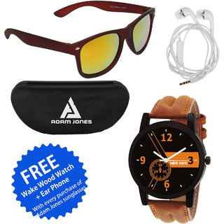 Red Mercury Matt Finish UV Protection 400 Wayfarer Gold Glass Unisex unglasses (Brown Rubber Coated Frame) with Free Wake Wood Watch + Ear Phone