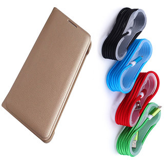 Redmi Note 4 Golden Leather Flip Cover with Nylon Braided USB Cable