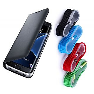 Samsung Galaxy On5 Black Leather Flip Cover with Nylon Braided USB Cable