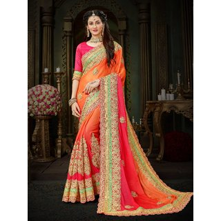 Manohari Designer Orange Chiffon Saree