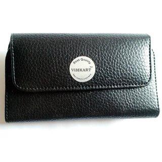 Vimkart Synthetic Leather Belt clip holder pouch case cover for INTEX AQUA Q4