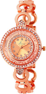 Jack Klein Shiny Stone Dial With Rose Gold Metal Strap Wrist Watch For Women