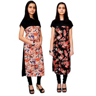 SK Moda Multicolor Floral Printed Crepe Stitched Kurti (Pack of 2)