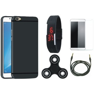 Samsung J7 Max Silicon Anti Slip Back Cover with Free Spinner, Digital LED Watch, Tempered Glass and AUX Cable