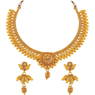 0cff51a0e2f02 Buy Asmitta Designer Gold Plated Copper Necklace Set For Women Online - Get  77% Off