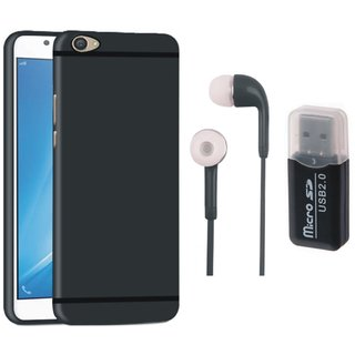 Samsung J7 Pro Silicon Slim Fit Back Cover with Memory Card Reader, Earphones