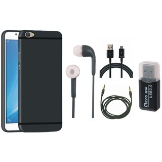 Samsung J7 Pro Silicon Slim Fit Back Cover with Memory Card Reader, Earphones, USB Cable and AUX Cable