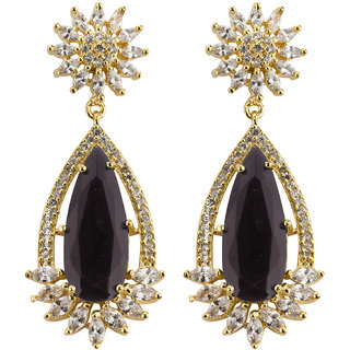 Jewels Galaxy Limited Edition Splendid CZ Floral Design Mesmerizing Crystal Gold Plated Black Drop Earrings for Women/Gi