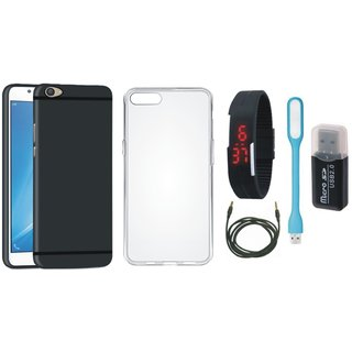 Samsung J7 Pro Stylish Back Cover with Memory Card Reader, Silicon Back Cover, Digital Watch, USB LED Light and AUX Cable