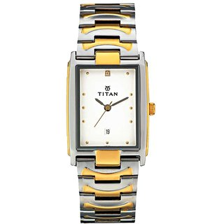 Titan Quartz White Rectangle Men Watch 1318BM01