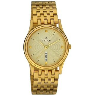 Titan Quartz Gold Round Men Watch 1456YM02