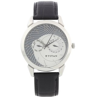 Titan Quartz Grey Round Men Watch 1509SL01