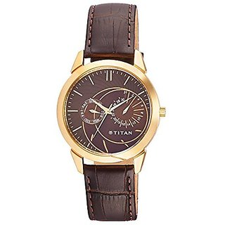Titan Quartz Brown Dial Mens Watch-1509YL01