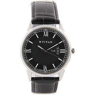 Titan Quartz Black Dial Mens Watch-1521SL01