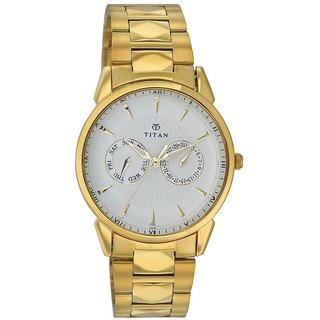 Titan Quartz White Round Men Watch 1521YM04