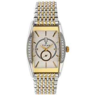 Titan Quartz White Rectangle Men Watch 1527BM01