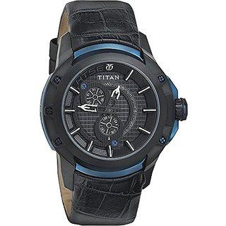 Titan Quartz Black Round Men Watch 1540KL04