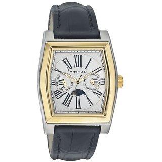 Titan Quartz White Tonneau Men Watch 1555BL01