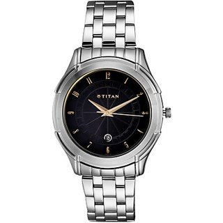 Titan Quartz Black Dial Mens Watch-1558SM02