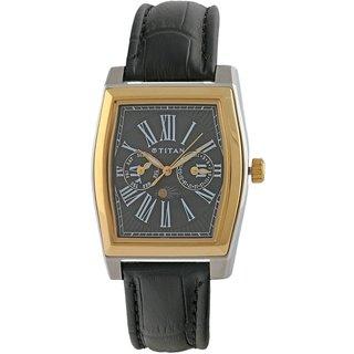 Titan Quartz Black Tonneau Men Watch 1555BL02