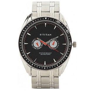 Titan Quartz Black Dial Mens Watch-1586BM02