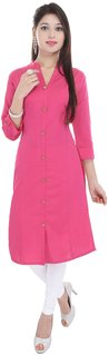 Purvahi Pink Plain Cotton Stitched Kurti