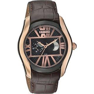 Titan Quartz Black Dial Mens Watch-1665KL02