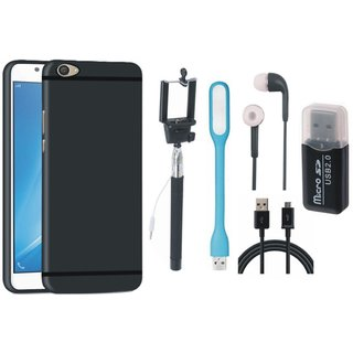 Samsung J7 Pro Cover with Memory Card Reader, Selfie Stick, Earphones, USB LED Light and USB Cable