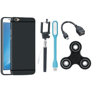Samsung J7 Pro Soft Silicon Slim Fit Back Cover with Spinner, Selfie Stick, LED Light and OTG Cable