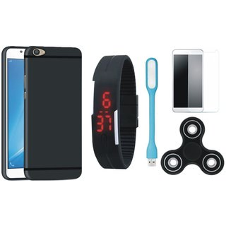 Samsung J7 Pro Soft Silicon Slim Fit Back Cover with Free Spinner, Digital LED Watch, Tempered Glass and LED Light