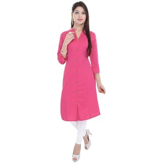 Purvahi Pink color Plain Cotton Stitched Kurti with wooden Button