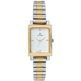 Titan Quartz White Rectangle Women Watch 2478BM01