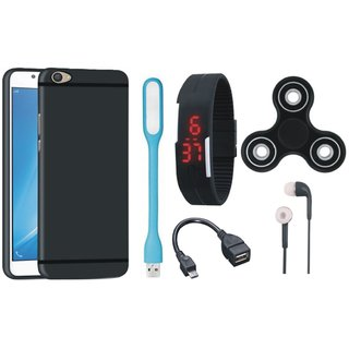 Samsung J7 Pro Silicon Slim Fit Back Cover with Spinner, Digital Watch, Earphones, USB LED Light and OTG Cable