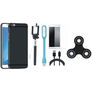 Samsung J7 Pro Silicon Slim Fit Back Cover with Free Spinner, Selfie Stick, Tempered Glass, LED Light and USB Cable